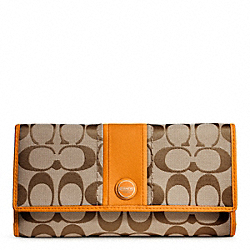 COACH SIGNATURE STRIPE CHECKBOOK WALLET - ONE COLOR - F48810