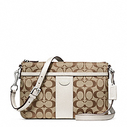 COACH SIGNATURE EAST/WEST SWINGPACK - SILVER/KHAKI/PARCHMENT - F48887