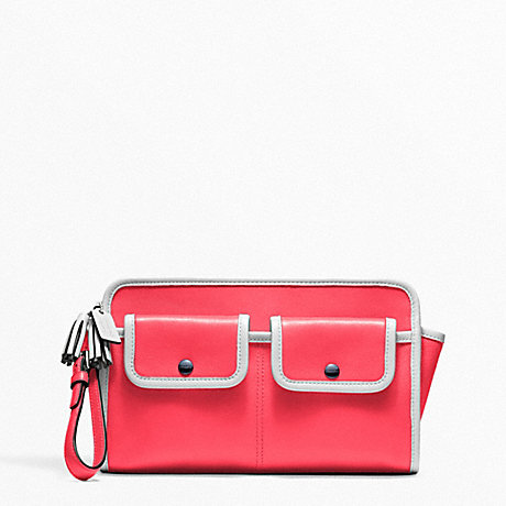 COACH ARCHIVE TWO TONE LARGE CLUTCH - SILVER/BRIGHT CORAL/SNOW - f48893