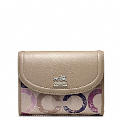 COACH MADISON METALLIC GESSO OP ART MEDIUM WALLET - SILVER/VIOLET MULTI - F48925