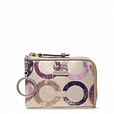 COACH MADISON METALLIC GESSO OP ART L-ZIP MINI SKINNY - SILVER/VIOLET MULTI - f48929