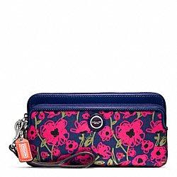 COACH POPPY FLORAL PRINT DOUBLE ZIP WALLET - ONE COLOR - F48939