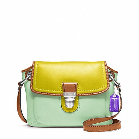 COACH POPPY COLORBLOCK LEATHER FLAP CROSSBODY -  - f48941