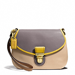 POPPY COLORBLOCK LEATHER LARGE WRISTLET - f48943 - BRASS/CAPPUCCINO/OYSTER