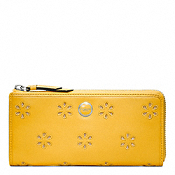POPPY EYELET LEATHER SLIM ZIP WALLET - f48951 - SILVER/MARIGOLD