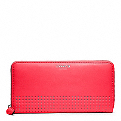PERFORATED LEATHER ACCORDION ZIP - f48958 - SILVER/WATERMELON/SNOW