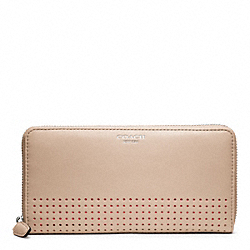 PERFORATED LEATHER ACCORDION ZIP - f48958 - SILVER/BISQUE/HIBISCUS