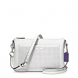 COACH PERFORATED LEATHER SWINGPACK - SILVER/CHALK/MARINE - F48979