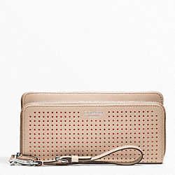 COACH PERFORATED LEATHER DOUBLE ACCORDION ZIP - ONE COLOR - F49000