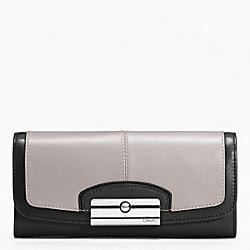 COACH KRISTIN SPECTATOR LEATHER SLIM ENVELOPE - SILVER/BLACK MULTI - F49007