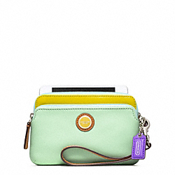 COACH POPPY COLORBLOCK LEATHER DOUBLE ZIP WRISTLET - ONE COLOR - F49052