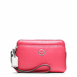 COACH POPPY LEATHER DOUBLE ZIP WRISTLET - ONE COLOR - F49053