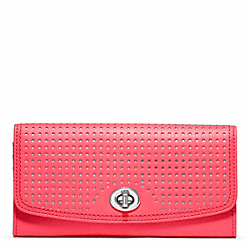 COACH PERFORATED LEATHER SLIM ENVELOPE - SILVER/WATERMELON/SNOW - F49059