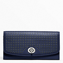 COACH PERFORATED LEATHER SLIM ENVELOPE - SILVER/NAVY/BRIGHT CITRINE - F49059