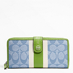 COACH SIGNATURE STRIPE PVC STRIPE ACCORDION ZIP WALLET WITH TAB - SILVER/LIGHT GOLDGHT BLUE/GREEN - F49077