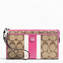 COACH SIGNATURE STRIPE PVC STRIPE ZIPPY WALLET - ONE COLOR - F49078
