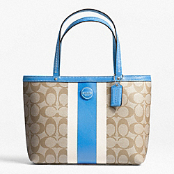 COACH SIGNATURE STRIPE TOP HANDLE TOTE - ONE COLOR - F49096