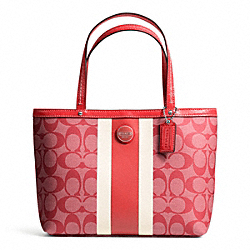 COACH SIGNATURE STRIPE PVC STRIPE TOP HANDLE TOTE - ONE COLOR - F49096