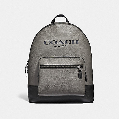 COACH WEST BACKPACK WITH COACH CUT OUT - HEATHER GREY MULTI/BLACK ANTIQUE NICKEL - F49128