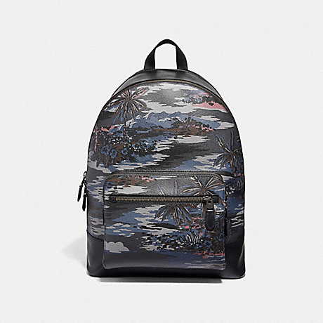 COACH WEST BACKPACK WITH HAWAIIAN PRINT - BLACK MULTI/BLACK ANTIQUE NICKEL - F49131