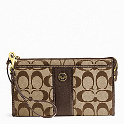 COACH SIGNATURE STRIPE ZIPPY WALLET - ONE COLOR - F49139