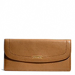 COACH PARK LEATHER SOFT WALLET - BRASS/BRITISH TAN - F49150