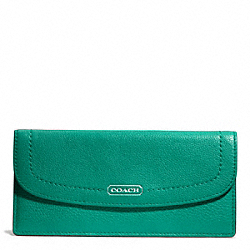 COACH PARK LEATHER SOFT WALLET - SILVER/BRIGHT JADE - F49150