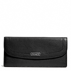 COACH PARK LEATHER SOFT WALLET - SILVER/BLACK - F49150