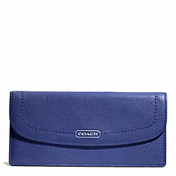 COACH PARK LEATHER SOFT WALLET - SILVER/FRENCH BLUE - F49150