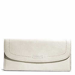 COACH PARK LEATHER SOFT WALLET - SILVER/PARCHMENT - F49150