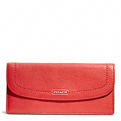 COACH PARK LEATHER SOFT WALLET - SILVER/VERMILLION - F49150