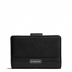 COACH PARK LEATHER MEDIUM WALLET - SILVER/BLACK - F49153