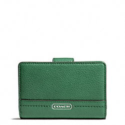 COACH PARK LEATHER MEDIUM WALLET - SILVER/IVY - F49153