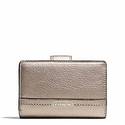 COACH PARK LEATHER MEDIUM WALLET - SILVER/PEWTER - F49153