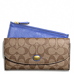 COACH PEYTON SIGNATURE SLIM ENVELOPE WITH POUCH - BRASS/KHAKI/PORCELAIN BLUE - F49154