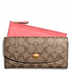 COACH PEYTON SIGNATURE SLIM ENVELOPE WITH POUCH - BRASS/KHAKI/CORAL - F49154