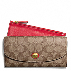 COACH PEYTON SIGNATURE SLIM ENVELOPE WITH POUCH - BRASS/KHAKI/RED - F49154