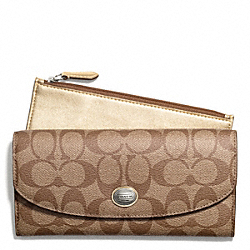 COACH PEYTON SIGNATURE SLIM ENVELOPE WITH POUCH - SILVER/KHAKI/GOLD - F49154