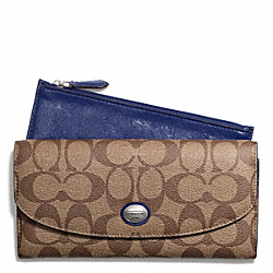 COACH PEYTON SIGNATURE SLIM ENVELOPE WITH POUCH - SILVER/KHAKI/NAVY - F49154