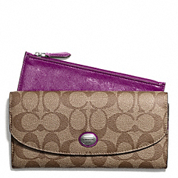 COACH PEYTON SIGNATURE SLIM ENVELOPE WALLET WITH POUCH - SILVER/KHAKI/PLUM - F49154