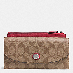 COACH PEYTON SIGNATURE SLIM ENVELOPE WITH POUCH - SILVER/KHAKI/RED - F49154