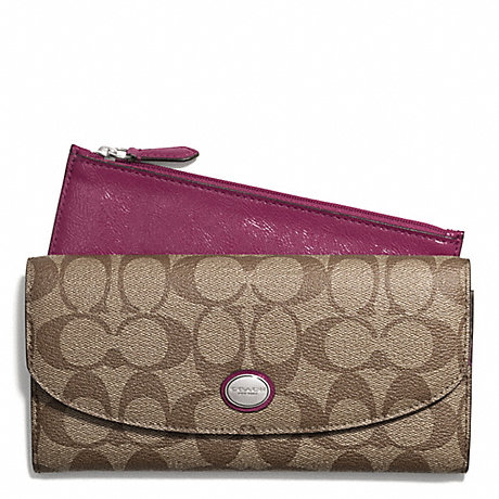 COACH PEYTON SIGNATURE SLIM ENVELOPE WALLET WITH POUCH - SILVER/KHAKI/MERLOT - f49154