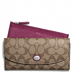 PEYTON SIGNATURE SLIM ENVELOPE WALLET WITH POUCH - SILVER/KHAKI/MERLOT - COACH F49154