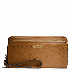 COACH PARK LEATHER DOUBLE ACCORDION ZIP - BRASS/BRITISH TAN - F49157
