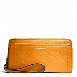 COACH PARK LEATHER DOUBLE ACCORDION ZIP - BRASS/ORANGE SPICE - F49157