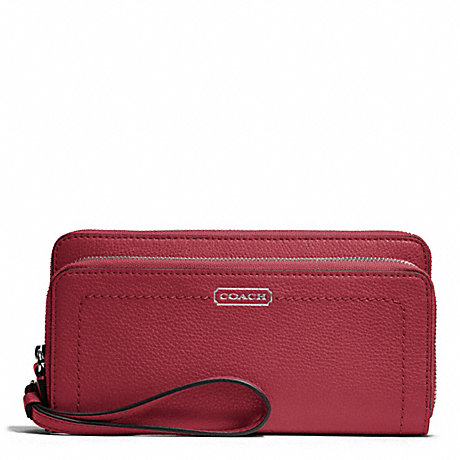 COACH PARK LEATHER DOUBLE ACCORDION ZIP - SILVER/BLACK CHERRY - f49157