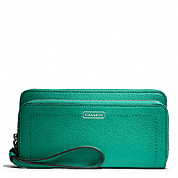 COACH PARK LEATHER DOUBLE ACCORDION ZIP - SILVER/BRIGHT JADE - F49157