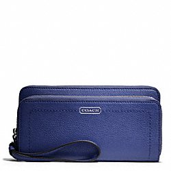 COACH PARK LEATHER DOUBLE ACCORDION ZIP - SILVER/FRENCH BLUE - F49157