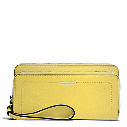 COACH PARK LEATHER DOUBLE ACCORDION ZIP WALLET - SILVER/CHARTREUSE - F49157