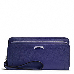 COACH PARK LEATHER DOUBLE ACCORDION ZIP WALLET - SILVER/INDIGO - F49157